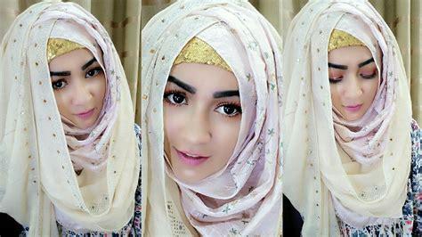 crisscross hijab style  covering chest pari zaad