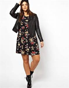 asos curve asos curve exclusive skater dress in floral With robe fleurie noire