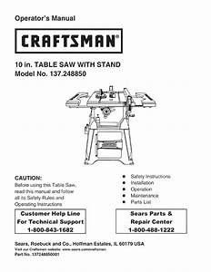Craftsman 137 248850 User Manual