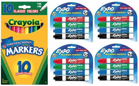 Crayola 10-count Fine Line Markers .27 + Expo Chisel Tip