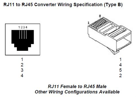 rj11 to rj45 converter type b