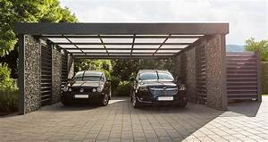 Carport Maße Für 2 Autos : gabionen carport mit platz f r zwei fahrzeuge garten ~ Michelbontemps.com Haus und Dekorationen