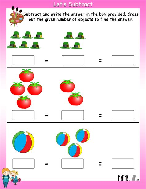 numeral clock worksheets subtract by crossing the objects worksheets mathsdiary com