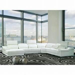 Canape Angle Cuir Blanc : canap d 39 angle droit panoramique cuir blanc achat vente canape angle pas cher couleur et ~ Teatrodelosmanantiales.com Idées de Décoration