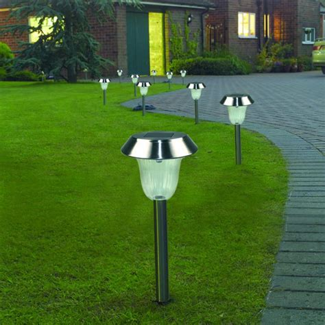 pack of 4 color changing solar stainless steel lawn light