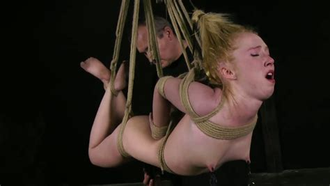 Spoiled Blond Teen Gets Her Tits Pinched With Metal