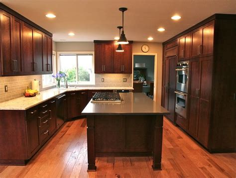 cherry floor kitchen shaker style cherry cabinets with stain quartz counter 2143