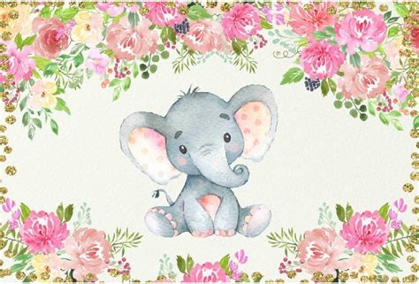 xft gold coins pink poeny flowers elephant baby shower