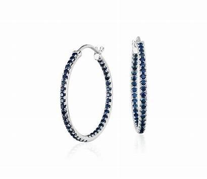 Sapphire Earrings Hoop Gold 14k Diamond Riviera