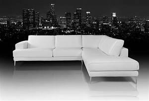 Dima, Mirage, Modern, White, Leather, Sectional, Sofa