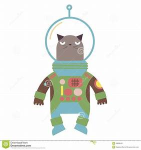 Cartoon Cat Astronaut Vector Illustration Stock Vector ...