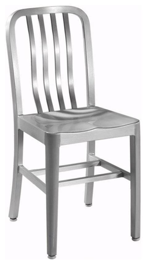 side chair with aluminum seat brushed aluminum
