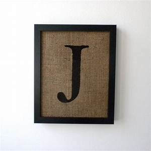 Letter j alphabet art burlap wall decor monogram by for J letter decor