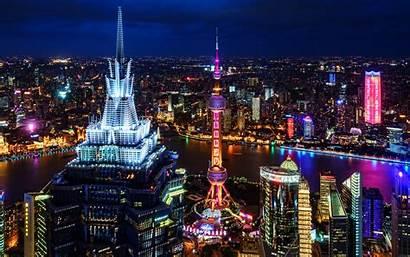 4k Night Shanghai Metropolis China Nightscapes Skyscrapers