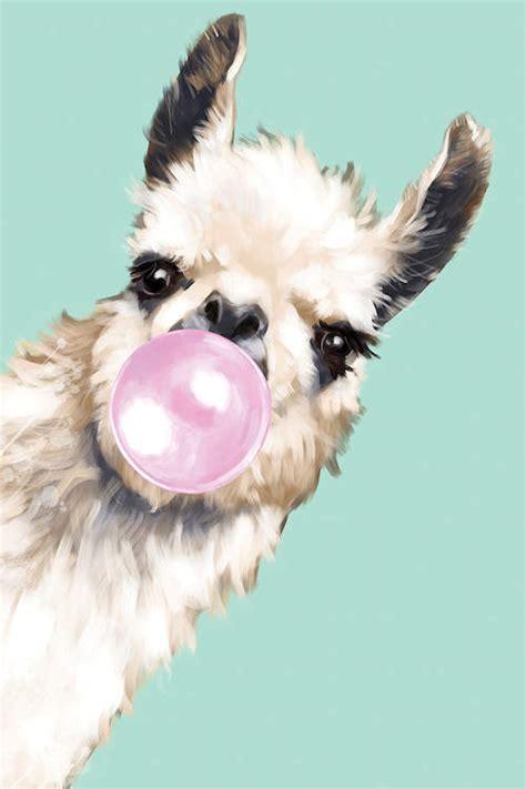 sneaky llama blowing bubble gum  green canva big