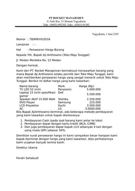 Cara Membuat Surat Permintaan by Contoh Surat Penawaran Harga Barang Toko 2019