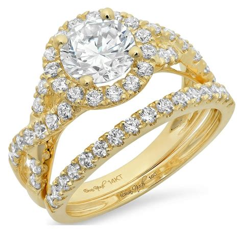 2 2ct cut halo bridal engagement wedding ring band 14k yellow gold ebay