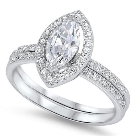 vintage pave 1 60 carat marquise cut russian white cz halo wedding
