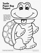 Paper Printable Bag Puppets Puppet Template Turtle Templates Craft Animal Brown Frog Crafts Preschool Lunch sketch template