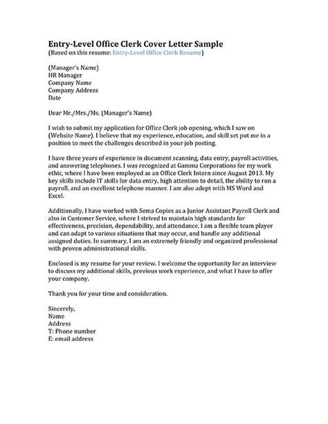 clerical cover letter samples cover letter for clerical 20864   cover letter for clerical job entry level office clerk cover letter sample