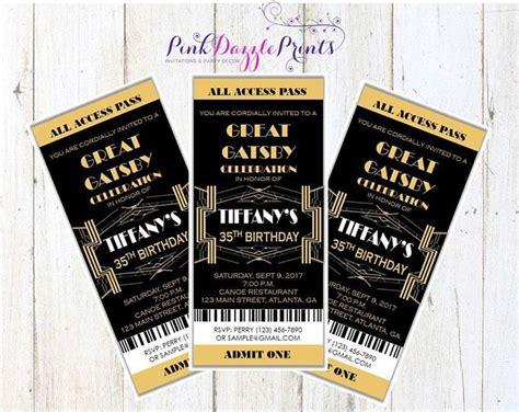 great gatsby invitation prom ticket party invitation