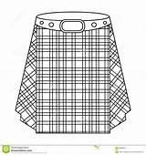 Kilt Outline Scottish Scotland Skirt Icon Tartan Symbol Single Vector Scots Illustration sketch template