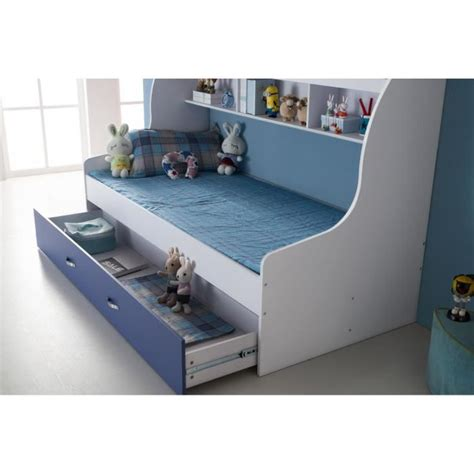 Lit enfant bleu 90x200 avec tiroir et rangement mural