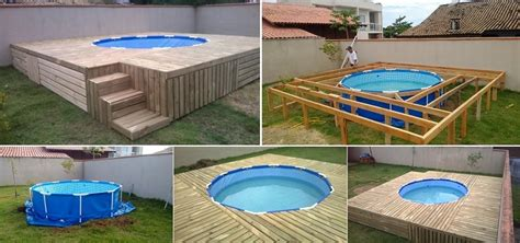 ground pool  diy deck