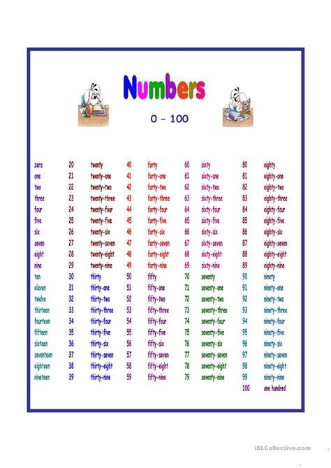 numbers   worksheet  esl projectable worksheets
