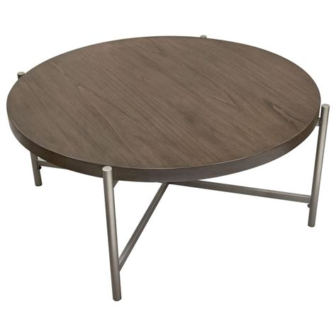 """40 to 59 inches (31). 40"""" Round Cocktail Table w/ Grey Oak Veneer Top & Brushed ..."""