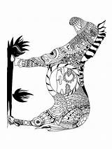 Coloring Pages Zebra Zentangle Adults Adult Printable Mycoloring Colors sketch template