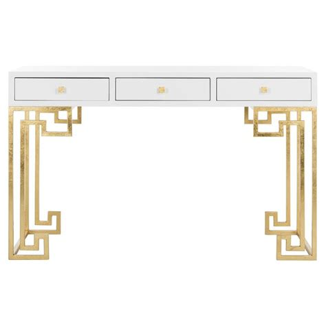 white and gold writing desk modern white gold desk products bookmarks design