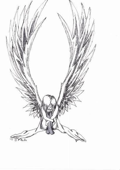 Demon Anime Drawing Wings Drawings Angel Angels