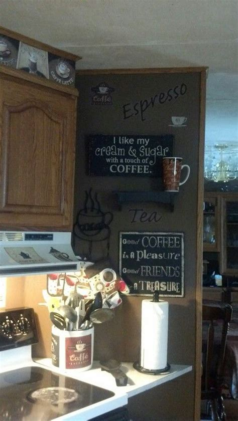 Coffee Themed Kitchen  I Especially Love Those Wall Signs
