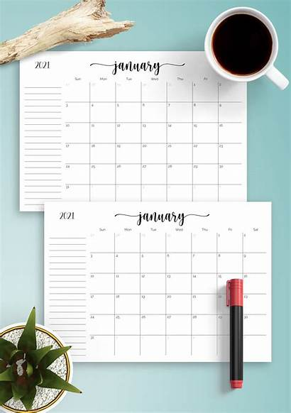 Calendar Monthly Notes Section Printable Templates Month