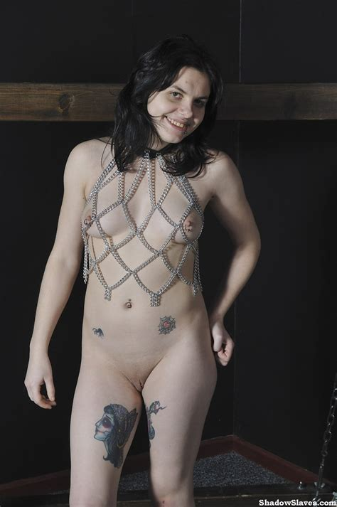 Amateur Goth Cutie Scar Is Chained To A Bondage Frame By