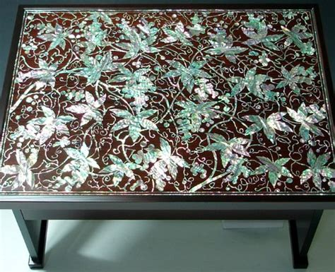 mother  pearl inlay art lacquer finish grape vine design