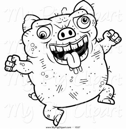 Ugly Pig Coloring Pages Cartoon Clipart Jumping