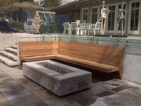 custom contemporary pit and built in bench