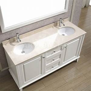 Art bathe lily 63 white double bathroom vanity solid for White vanity cabinets for bathrooms