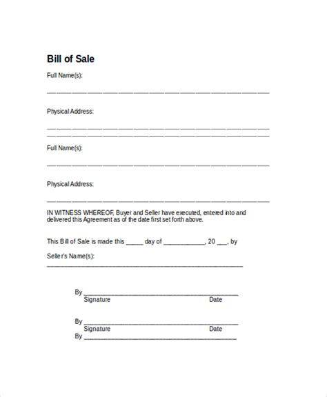 example of bill of sale sample bill of sale form 9 examples in pdf word