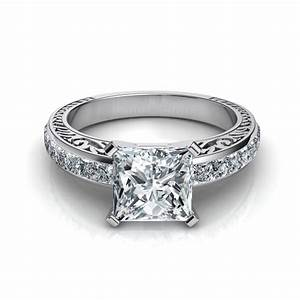 hand engraved vintage style princess cut engagement ring With vintage princess cut wedding rings