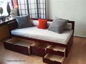 lit banquette a tiroirs par espace et mieux etre With canapé lit peigne