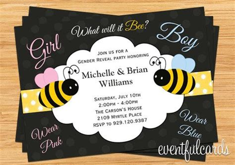 bee gender reveal party invitation printable