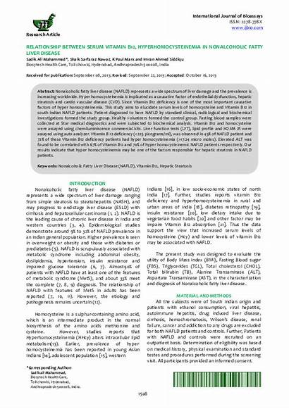 B12 Vitamin Liver Disease Relationship Serum Nonalcoholic
