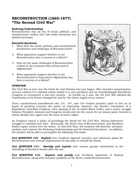 the politics of reconstruction worksheet answers the