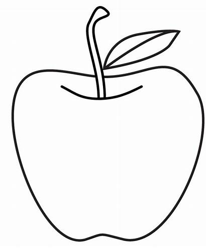 Apple Drawing Clipart Template Line Apples Stencil