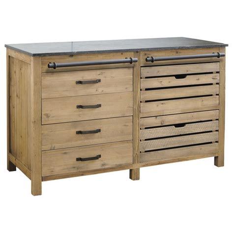 meuble bas de cuisine en bois recycl 233 l 140 cm pagnol