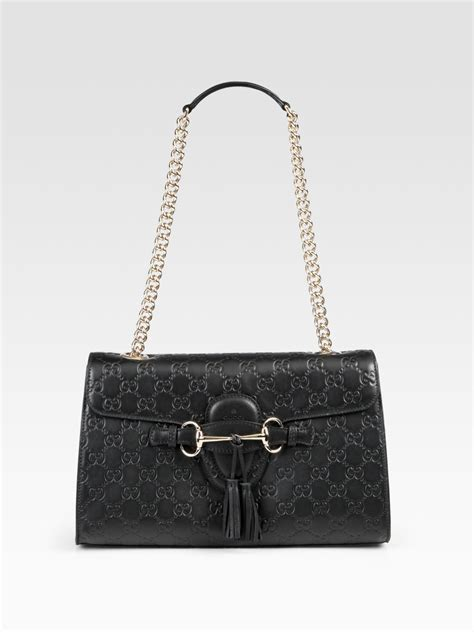 lyst gucci emily chain ssima leather shoulder bag  black