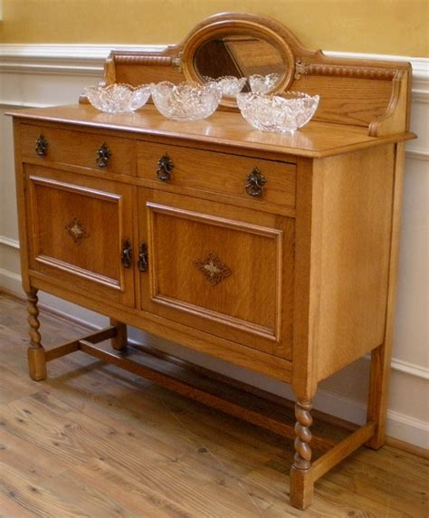 Oak Sideboards For Sale by Antique Oak Barley Twist Mirror Back Sideboard